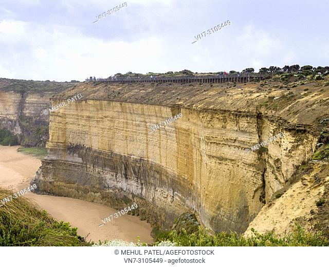 Limestone cliff at the Twelve Apostles coastline by the Great Ocean Road, Victoria, Australia