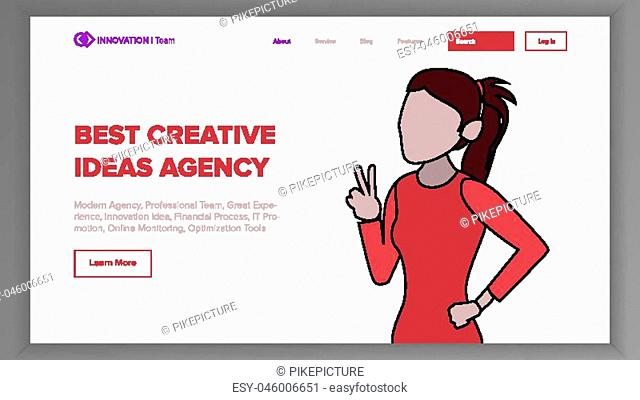 Business Solution Landing Page Concept Vector. Line. Investment Webpage. Commercial Template Illustration