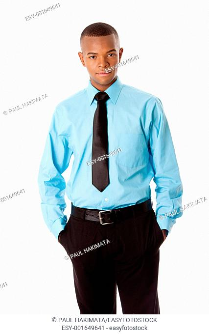 Handsome attractive successful corporate business executive standing with hands in pocket, isolated