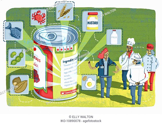 Manager and team of food preparation workers analyzing ingredients on canned food information label