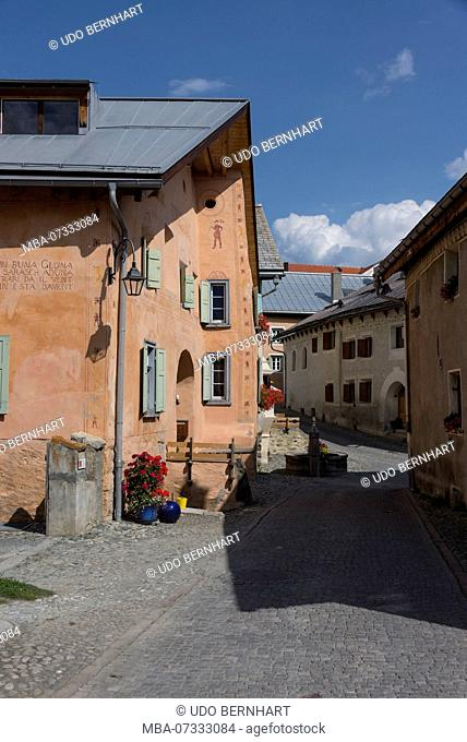 Typical houses, Townscape, Guarda, Scuol, Lower Engadine, Grisons, Switzerland