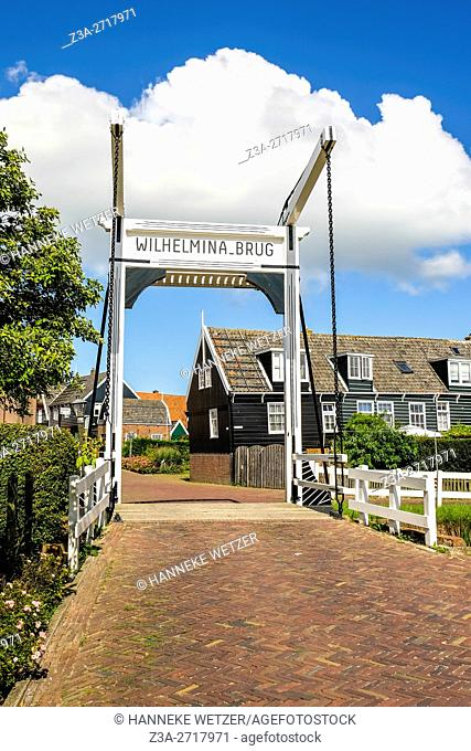 Wilhelmina bridge in Marken, Holland, Europe