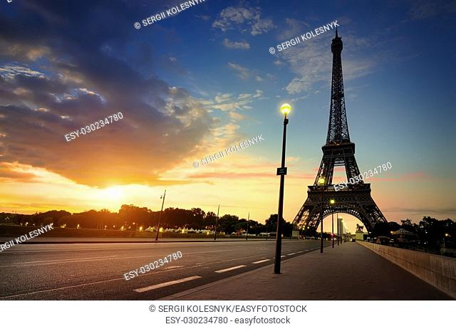 Cloudy sunrise in Paris over Eiffel Tower, France