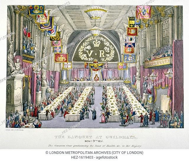 Banquet in the Guildhall in honour of Queen Victoria, City of London, 1837. The Common Crier proclaiming the toast of health to Queen Victoria