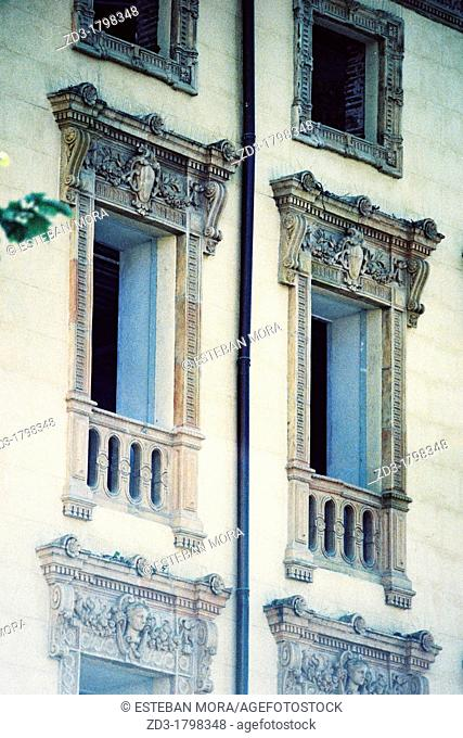 Classic windows of a building in Collioure, Pyrenees-Orientales, Languedoc-Roussillon, France