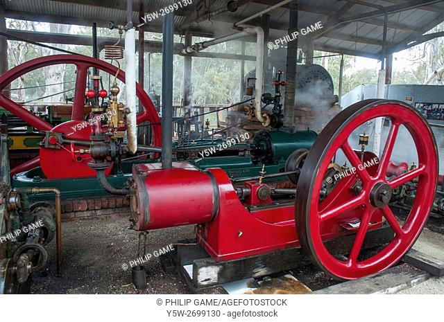 Historic steam engines at the colonial-era Murray River port of Echuca, Victoria, Australia