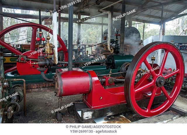 Historic steam engines at the colonial-era Murray River port of Echuca, Victoria, Australia