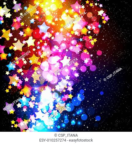 Bright colorful flying stars on a fantastic design background. Vector Illustration