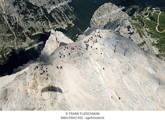 Alpspitze, Garmisch-Partenkirchen, mountaintop, Ferrata, aerial picture, Wetterstein Range, Bavaria, Germany