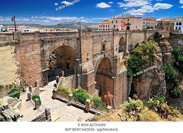 The 18thC Puente Nuevo spanning the El Tago Gorge above the River Guadalevin, Ronda, Andalucia, Spain