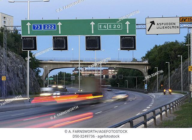 Stockholm, Sweden Traffic on the E-4 highway