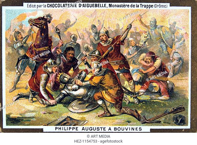 Philipe Auguste at the Battle of Bouvines, 1214, (19th century). King Philip II of France (1165-1223), known as Philip Augustus