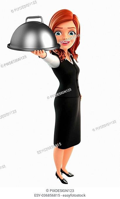 Illustration of young Business Woman with dish pan