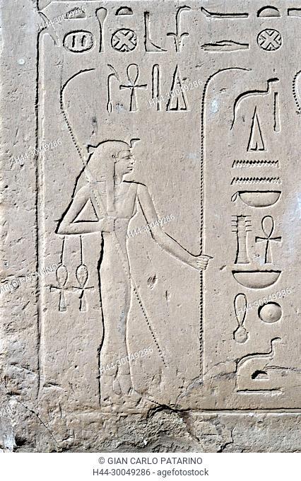Karnak, Luxor, Egypt. Temple of Karnak sacred to god Amon: the goddess Seshat patroness of writing