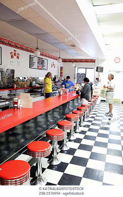 Historic, old-fashioned soda fountain at the Drugstore Pharmacy, Saugatuck, Michigan, USA