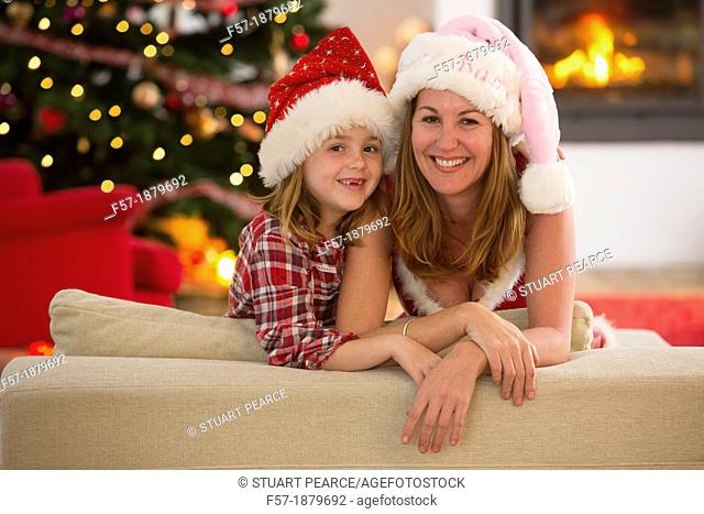 Mother and daughter at Christmas time