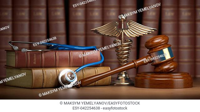Gavel, stethoscope and caduceus sign on books background. Mediicine laws and legal, medical jurisprudence. 3d illustration