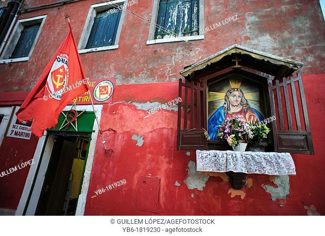 Italian Communist Party Office with Shrine to Sacred Heart of Jesus on Wall, Venice, Italy