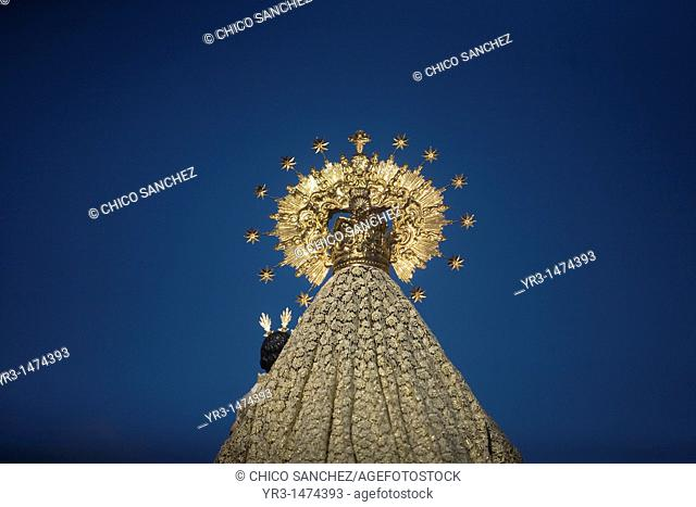 A wooden statue of the Virgin Carmen is publicly displayed during a Holy Week procession in the town of Prado del Rey in southern Spain's Cadiz Sierra region in...
