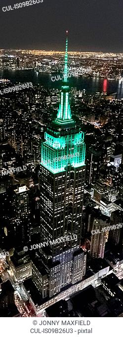 Aerial view from helicopter of Midtown, Empire State Building, New York, USA