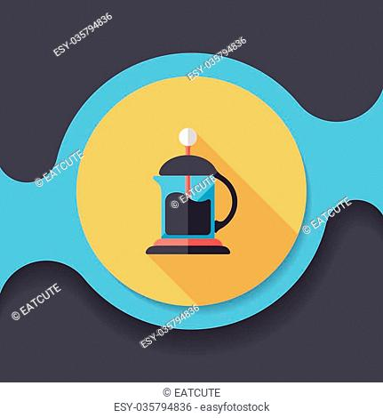 coffee kettle flat icon with long shadow,eps10