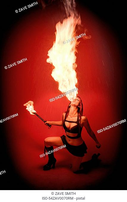 Fire breather performing