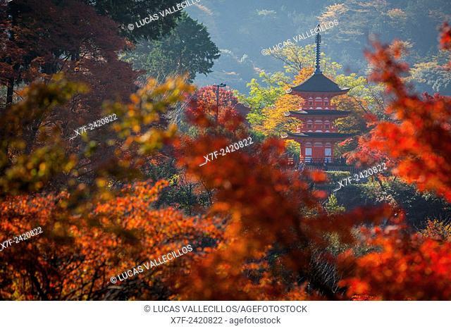 Pagoda, in Kiyomizu-dera temple, Kyoto. Kansai, Japan