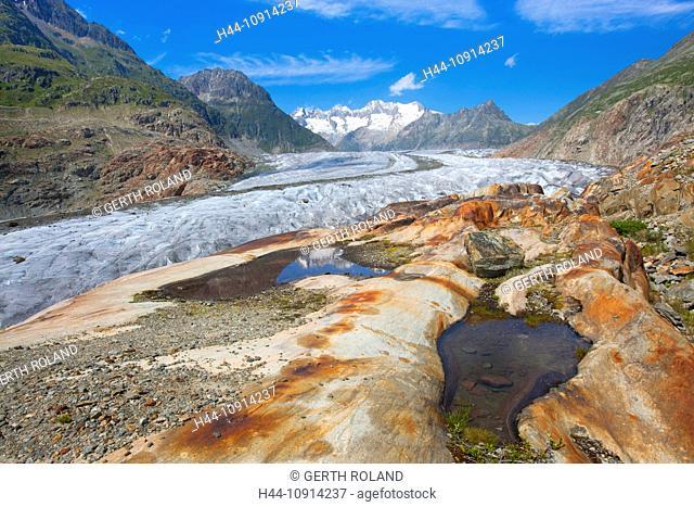 Aletsch glacier, Switzerland, Valais, UNESCO, world nature heritage, mountains, glaciers, rocks, cliffs, nature