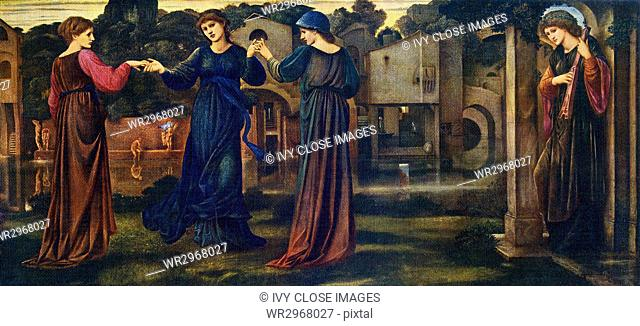 This painting, titled The Mill, was done by British artist Sir Edward Coley Burne-Jones (1833-1898). Burne-Jones as a fascinating colorist