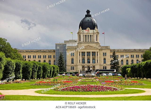 Queen Elizabeth II Gardens and the Legislative Building in Regina, Saskatchewan, Canada