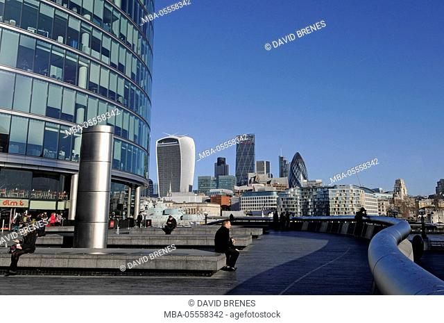 The view over the River Thames to the Modern Skyline of City of London with the Walkie Talkie, The Gherkin and Cheesegrater Buildings from More London