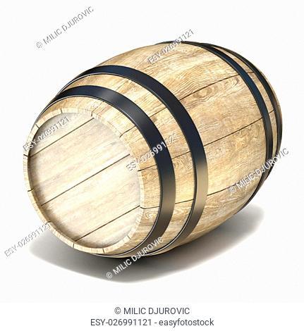 Wooden barrel. 3D render illustration isolated on white background