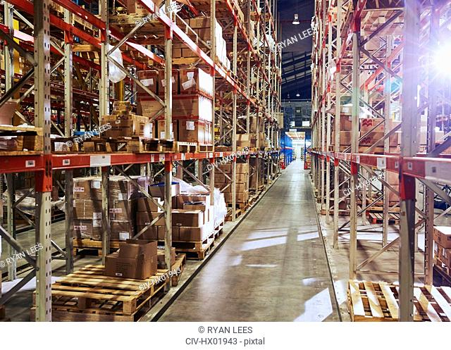 Merchandise stacked on shelves in distribution warehouse
