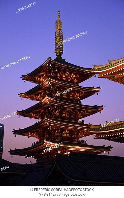 Senso-ji Buddhist temple old pagoda at night in Asakusa,Tokyo,Japan,Asia