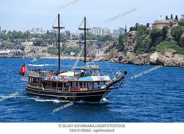 Anatolia, Turkey - June 04, 2016: Many travellers on board enjoying their yatch ride in Anatolia