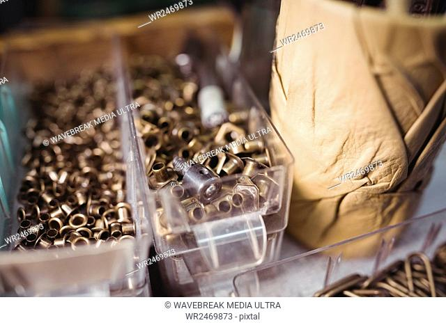 Nuts and bolts in a box at workshop