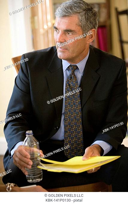 Close up of businessman in meeting