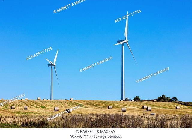 Baled hay and wind turbines, West Cape, Prince Edward Island, Canada