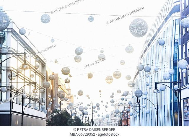 Decorative lampions in shopping mile of London