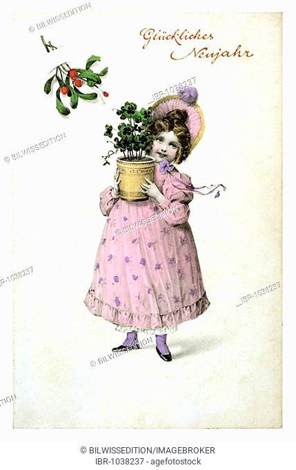 Historical New Year greetings card, Wilhelmine girl with flower pot with four-leaf clover, Glueckliches Neujahr, Happy New Year