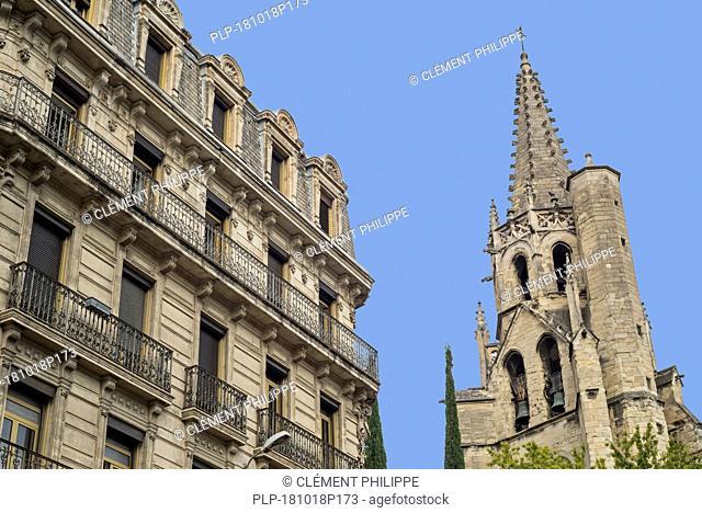 Belltower of the 14th-century Gothic Basilique Saint-Pierre d'Avignon / Basilica of St Peter, Avignon, Vaucluse, Provence-Alpes-Côte d'Azur, France