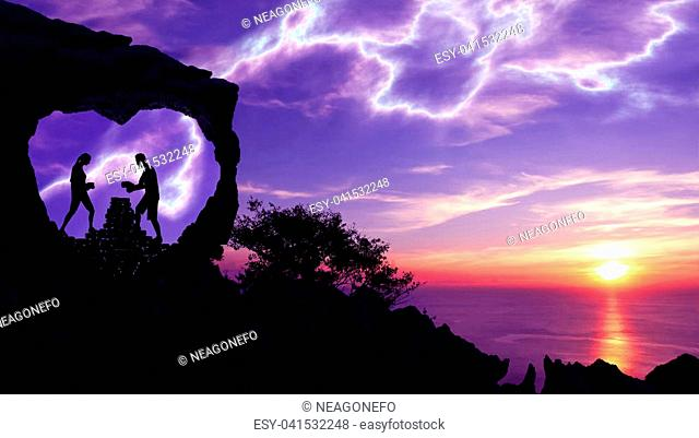 Silhouette Valentine background concept, Couples are stacked stones in the heart-shaped cave on a mountain with purple sky sunset background