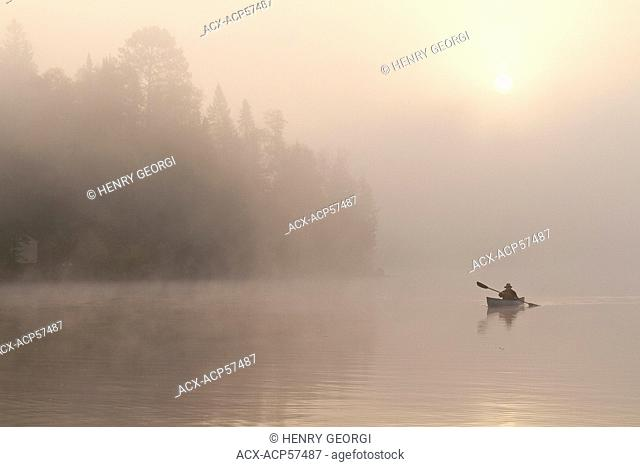 Man paddles solo canoe on Oxtongue Lake, Muskoka, Ontario