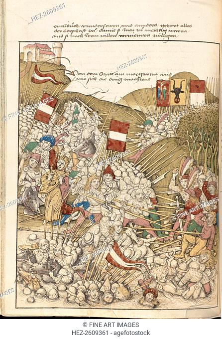 The Battle of Morgarten on 15 November 1315. Miniature from the Spiezer chronicle by Diebold Schilli Artist: Schilling, Diebold, the Elder (c