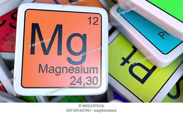 Magnesium tag on the pile of periodic table of the chemical elements tags