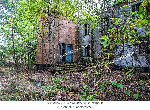 Building in summer recreation camp in Chernobyl Nuclear Power Plant Zone of Alienation area around nuclear reactor disaster in Ukraine