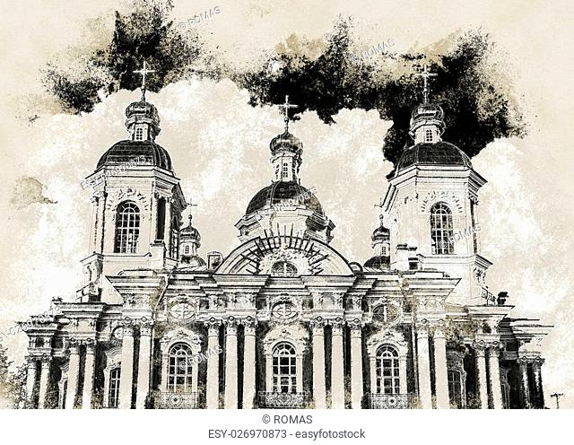 Saint Nicholas' Cathedral, Nikolsky sobor, popularly known as the Sailors' Chruch in Saint Petersburg, Russia. Vintage painting, background illustration
