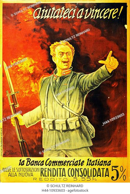 First World War, WWI, World War I, world war, war, Europe, propaganda, poster, Italy, Italian, soldier, military, army, gun, bayonet propaganda poster, fire