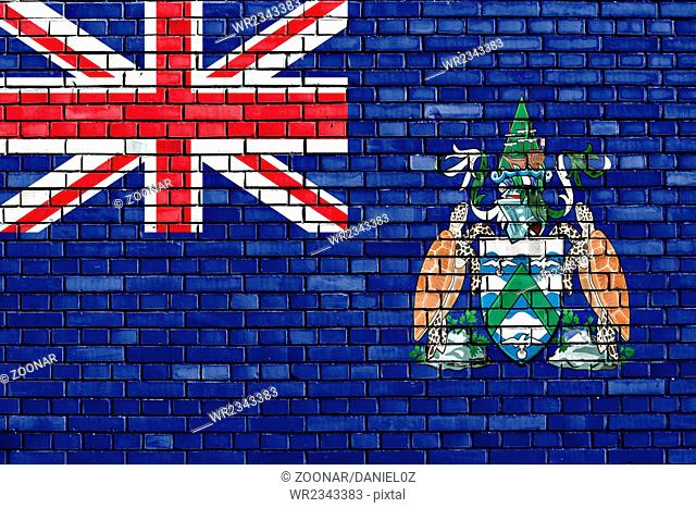 flag of Ascension Island painted on brick wall