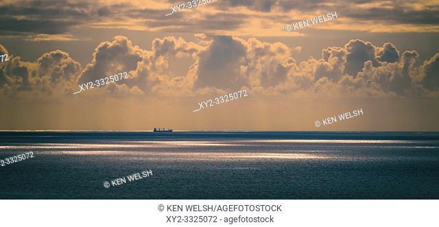 Lone ship at sea